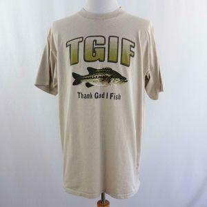 TGIF Thank God I Fish Tan Graphic T Shirt